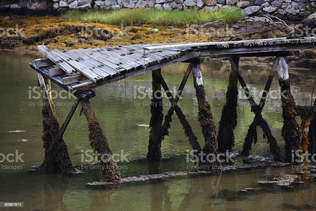 Old pier in Boothbay Harbor, Maine stock photo