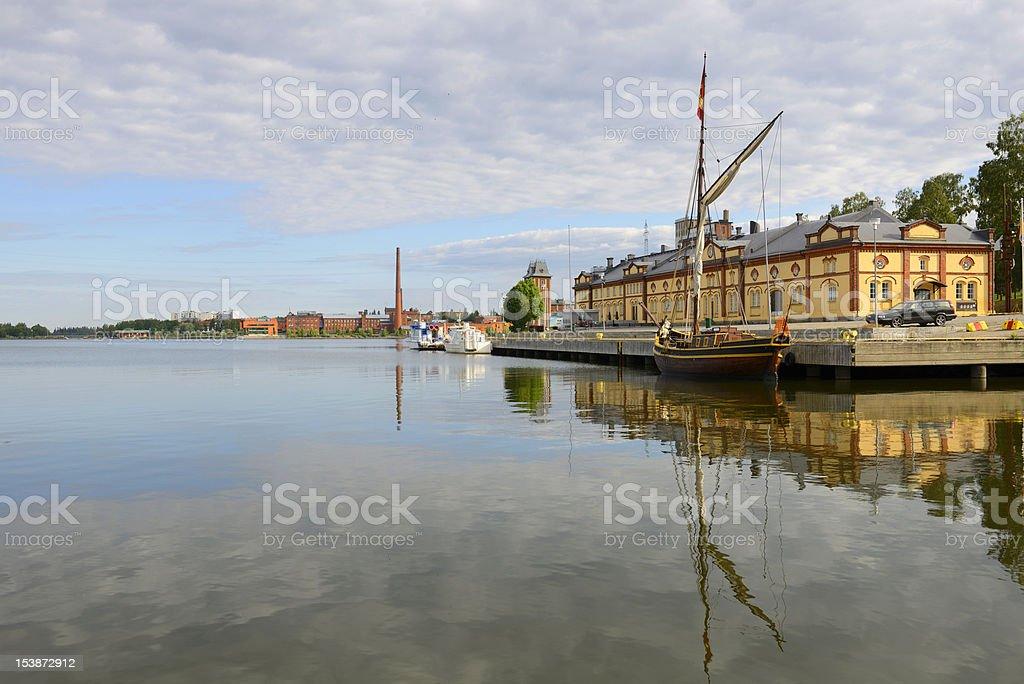 Old pier in Vaasa, Finland stock photo