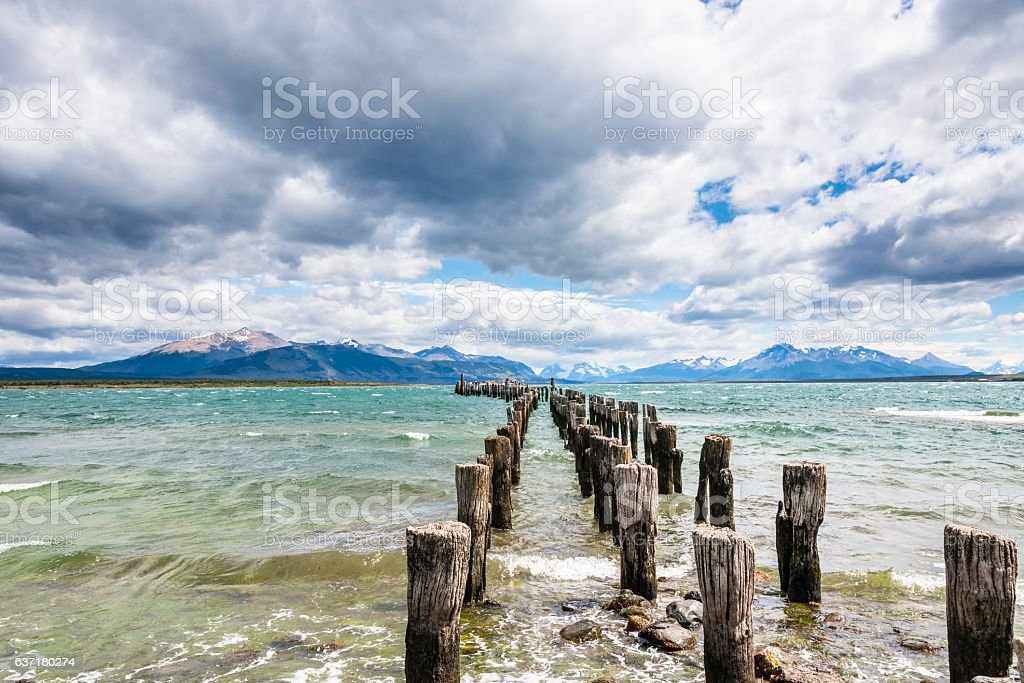 Old pier. Last hope bay. Puerto Natales, Antarctic Patagonia, Chile stock photo