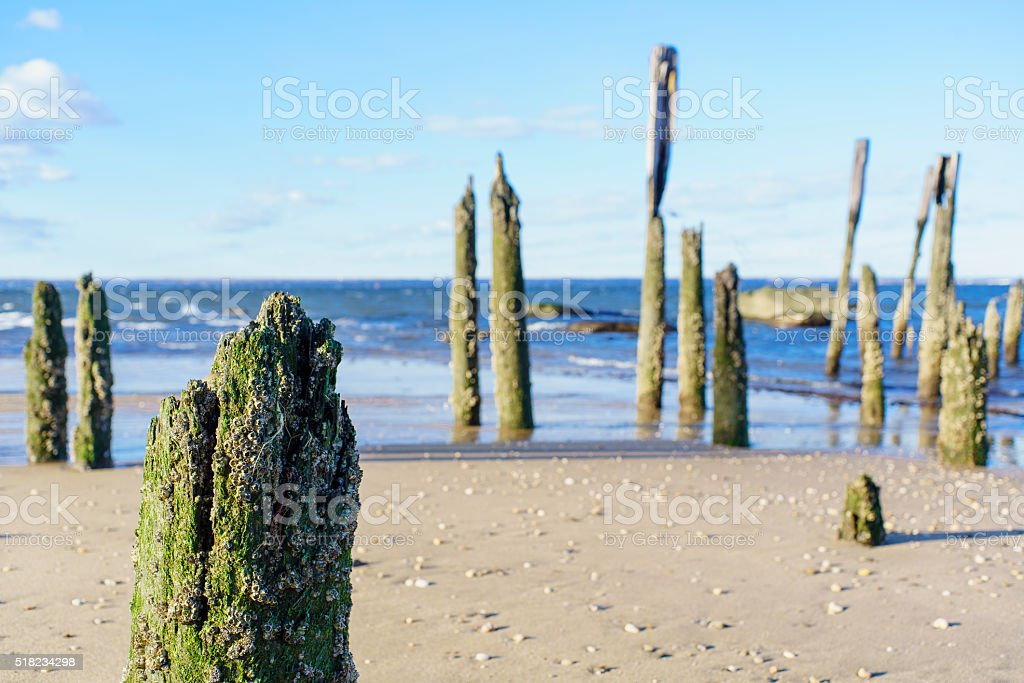 Old piere in Sands Point, Long Island, New York State stock photo