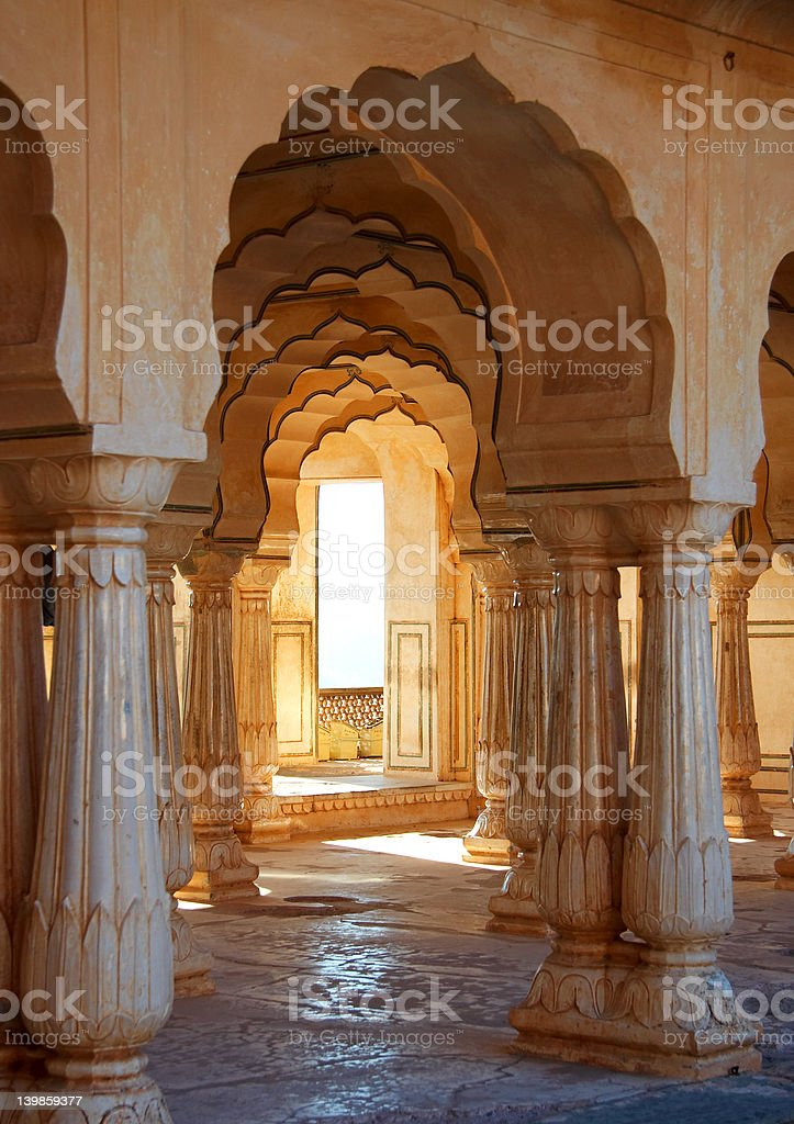 Old pillars with light through window. royalty-free stock photo
