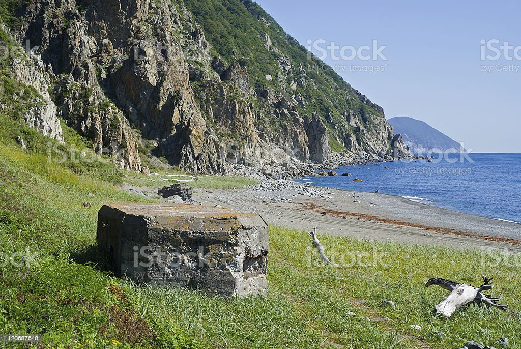 Old pillbox on seacoast royalty-free stock photo