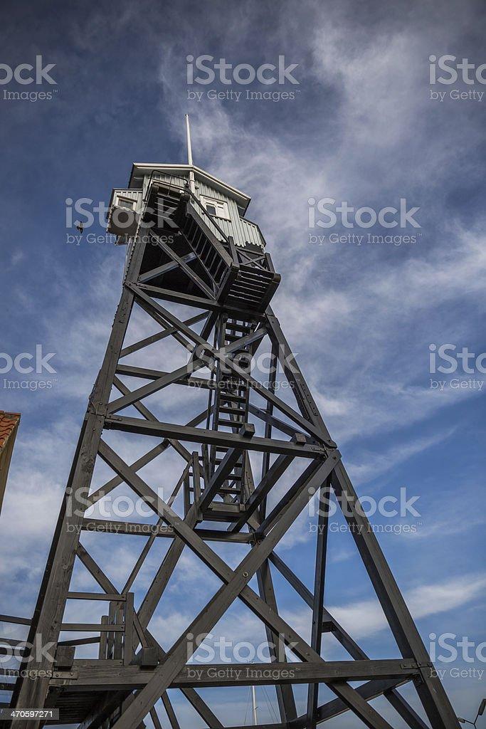 Old pilot tower in Dragør harbour, Denmark stock photo