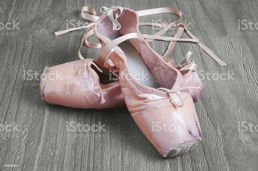 old pink ballet shoes royalty-free stock photo