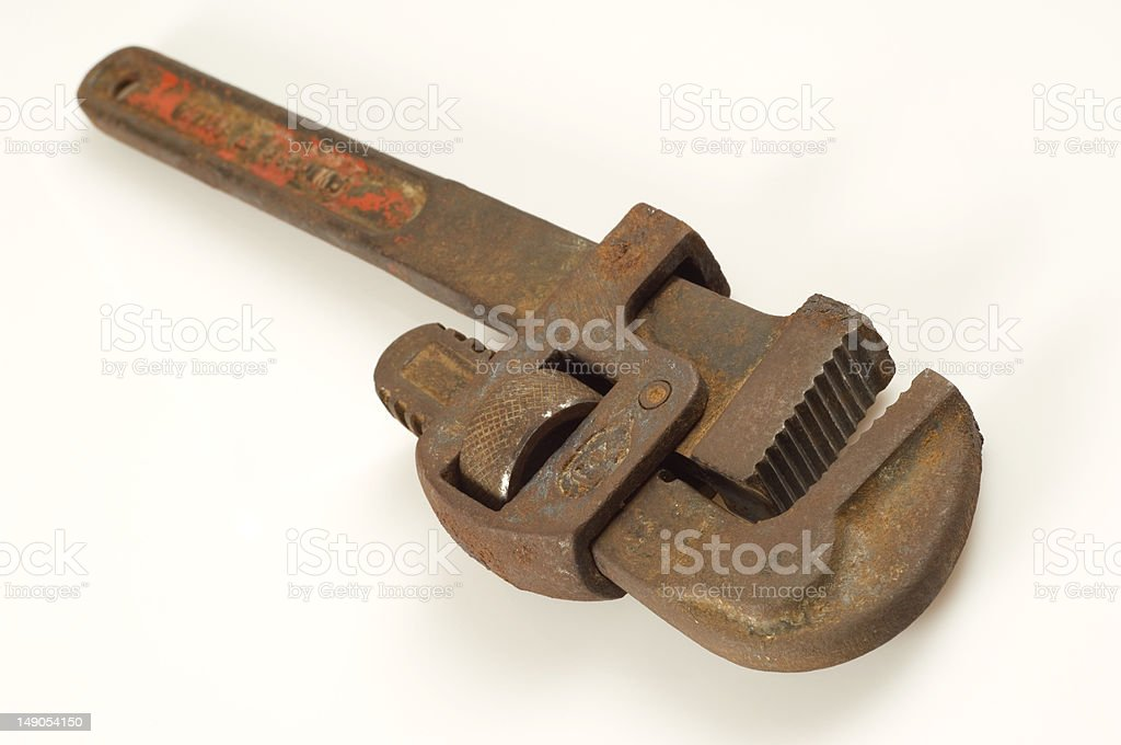 Old pipe wrench royalty-free stock photo
