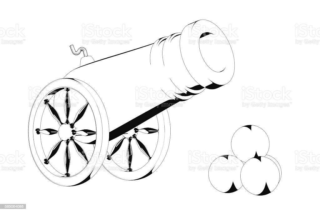 Old Pirate Cannon in Black and White Cartoon Style stock photo