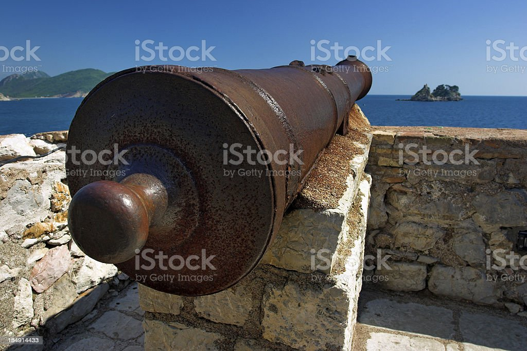 Old pirate cannon royalty-free stock photo