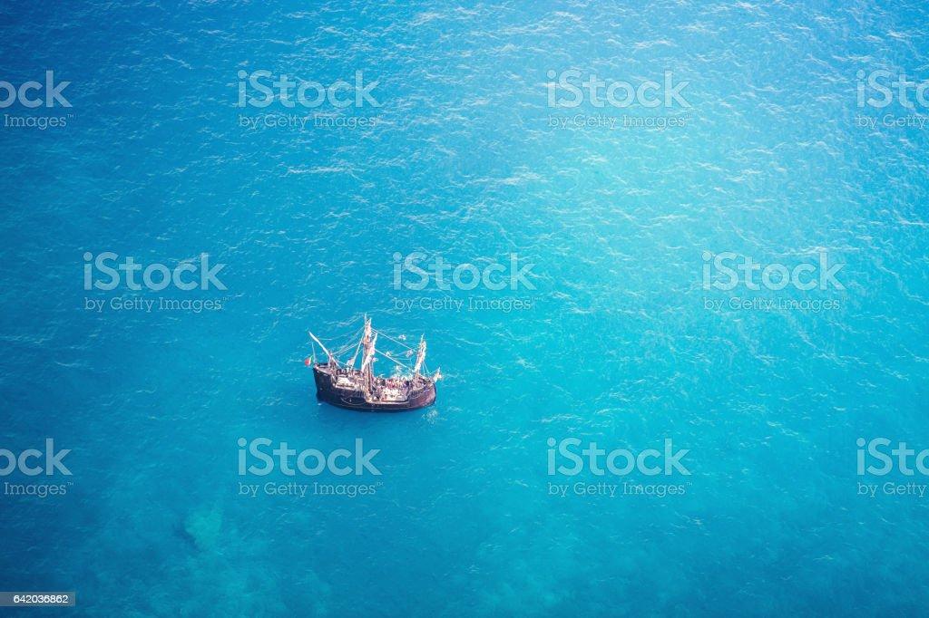 Old Pirate Ship On Madeira Island stock photo