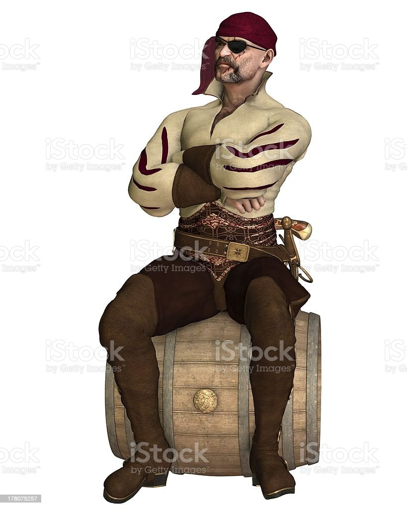 Old Pirate Sitting on a Barrel royalty-free stock photo