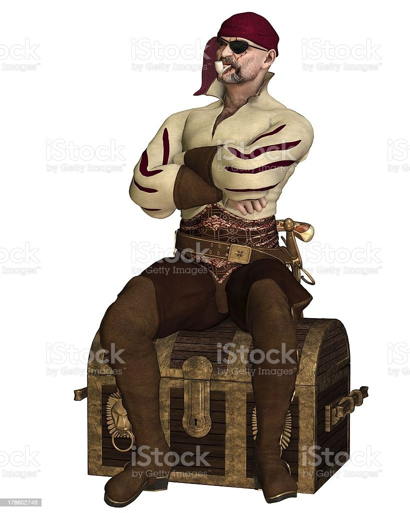 Old Pirate Sitting on a Treasure Chest royalty-free stock photo