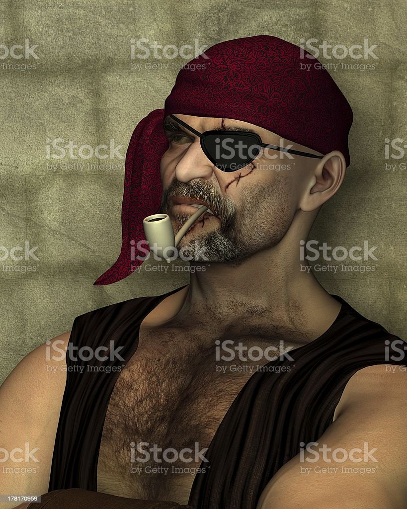 Old Pirate with Clay Pipe stock photo