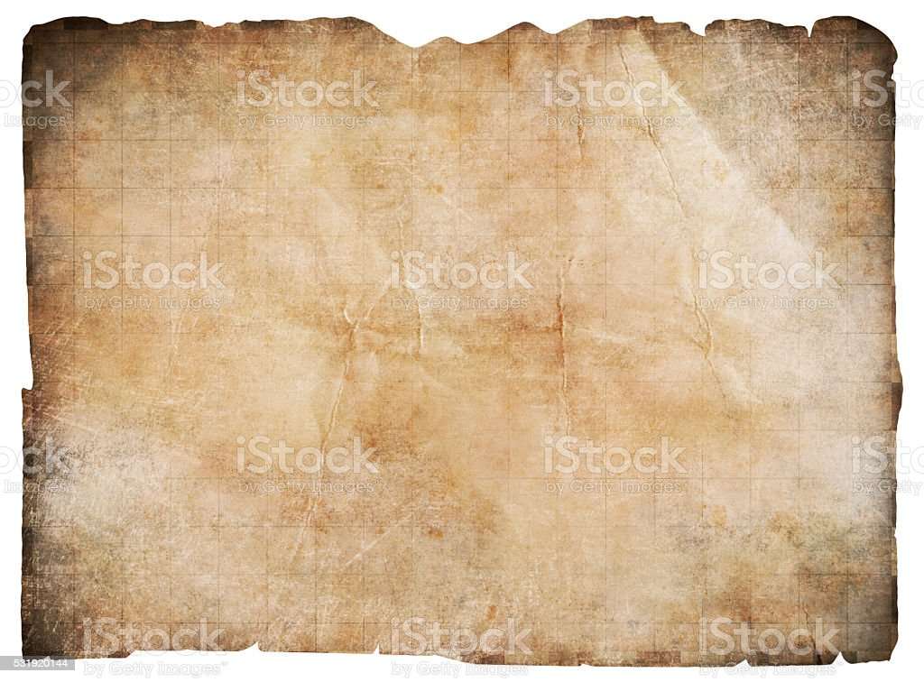 old pirates' treasure map isolated with clipping path stock photo