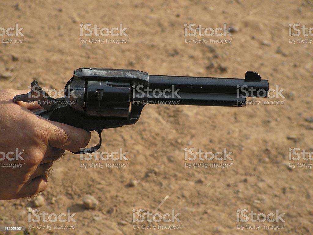 Old Pistol Aimed stock photo