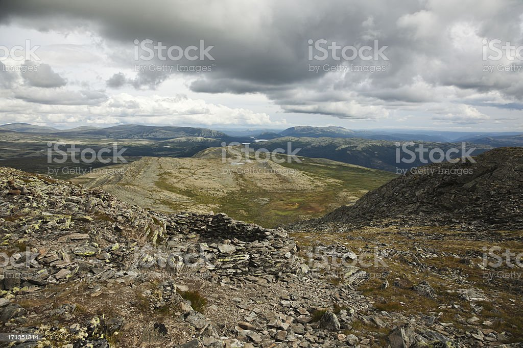 Old pitfalls in the mountains stock photo