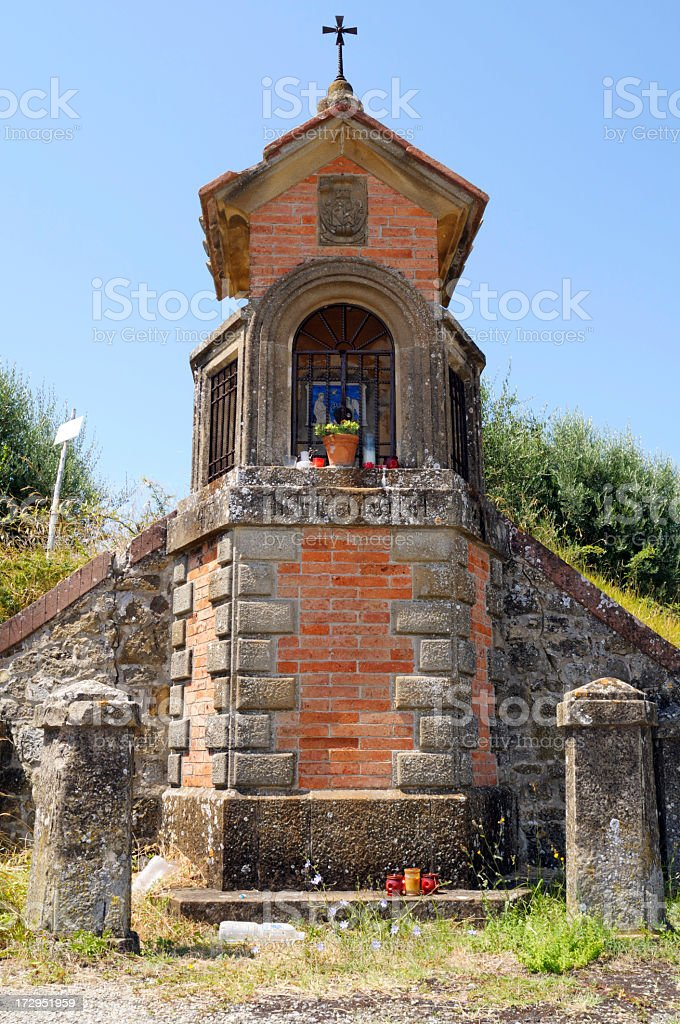 Old place of worship in Tuscany countryroad royalty-free stock photo