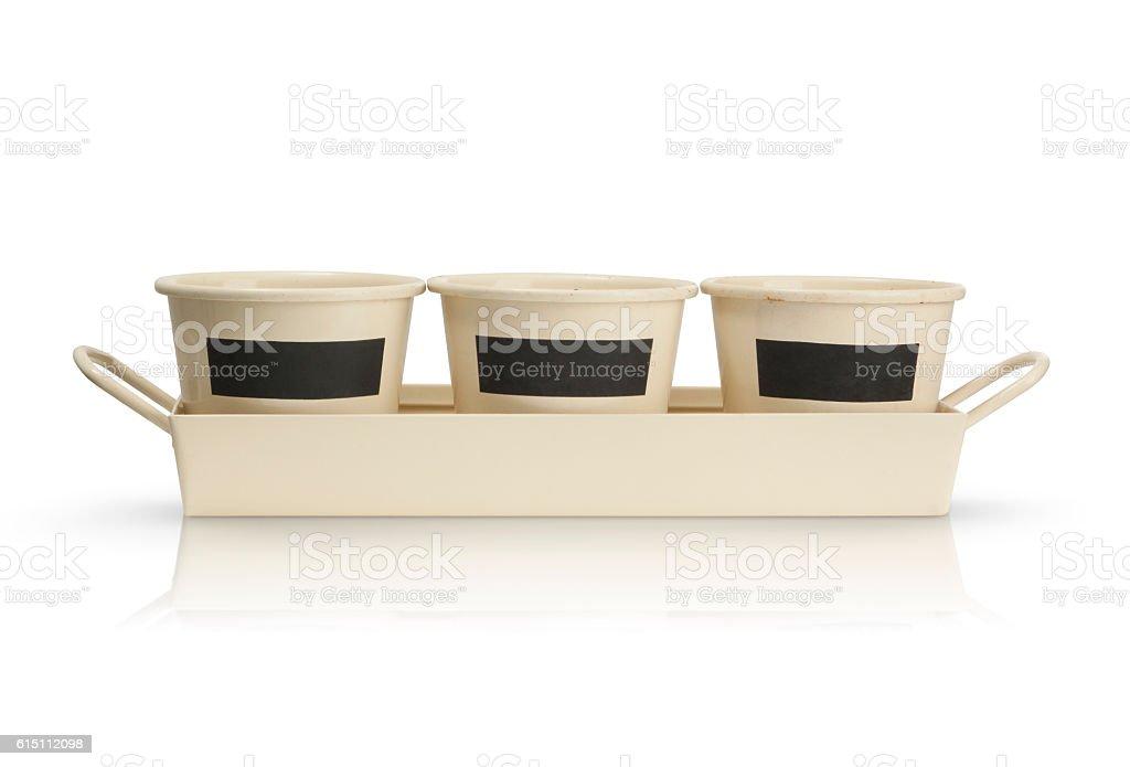 Old Planter Pot Set on White stock photo