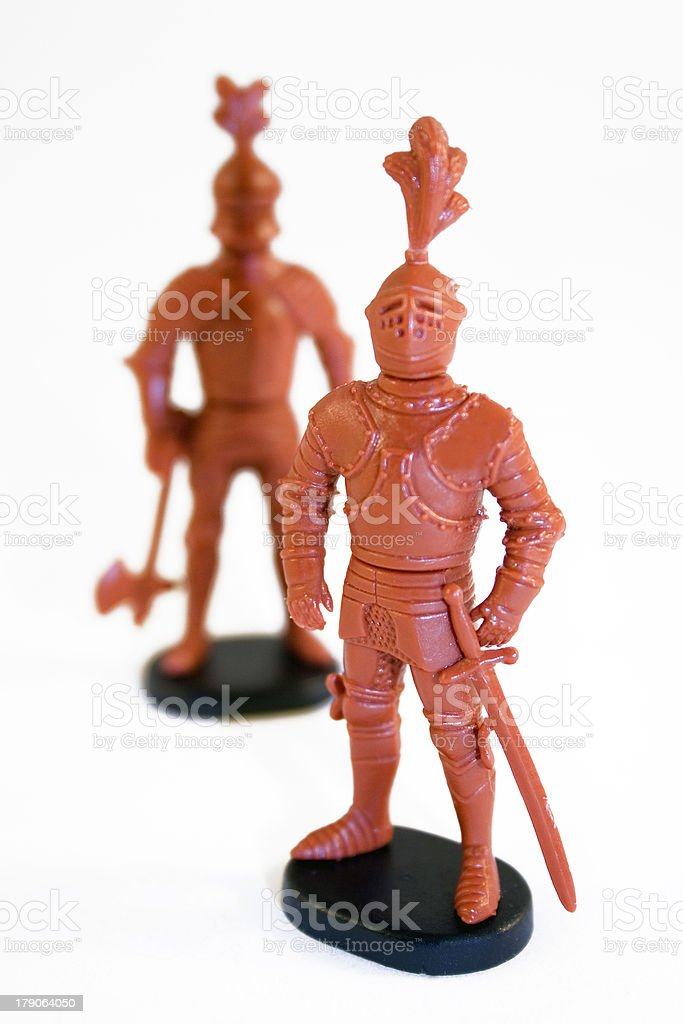 Old plastic Knights stock photo