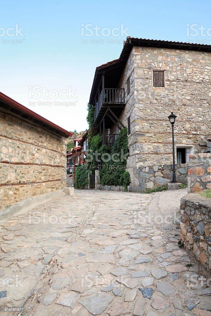 Old Platamonas village, Greece Olympus mountain stock photo