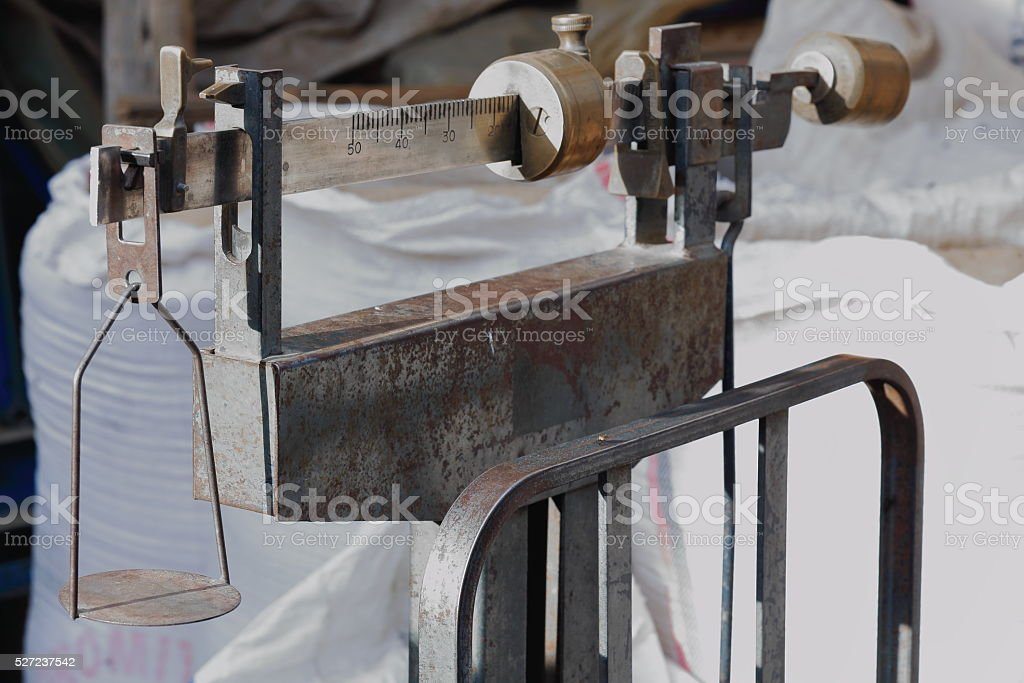 Old platform scale among sacks. Mekelle-Ethiopia. 0466 stock photo