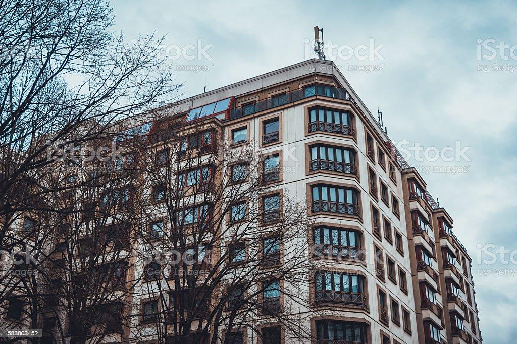 old plattenbau buildings stock photo