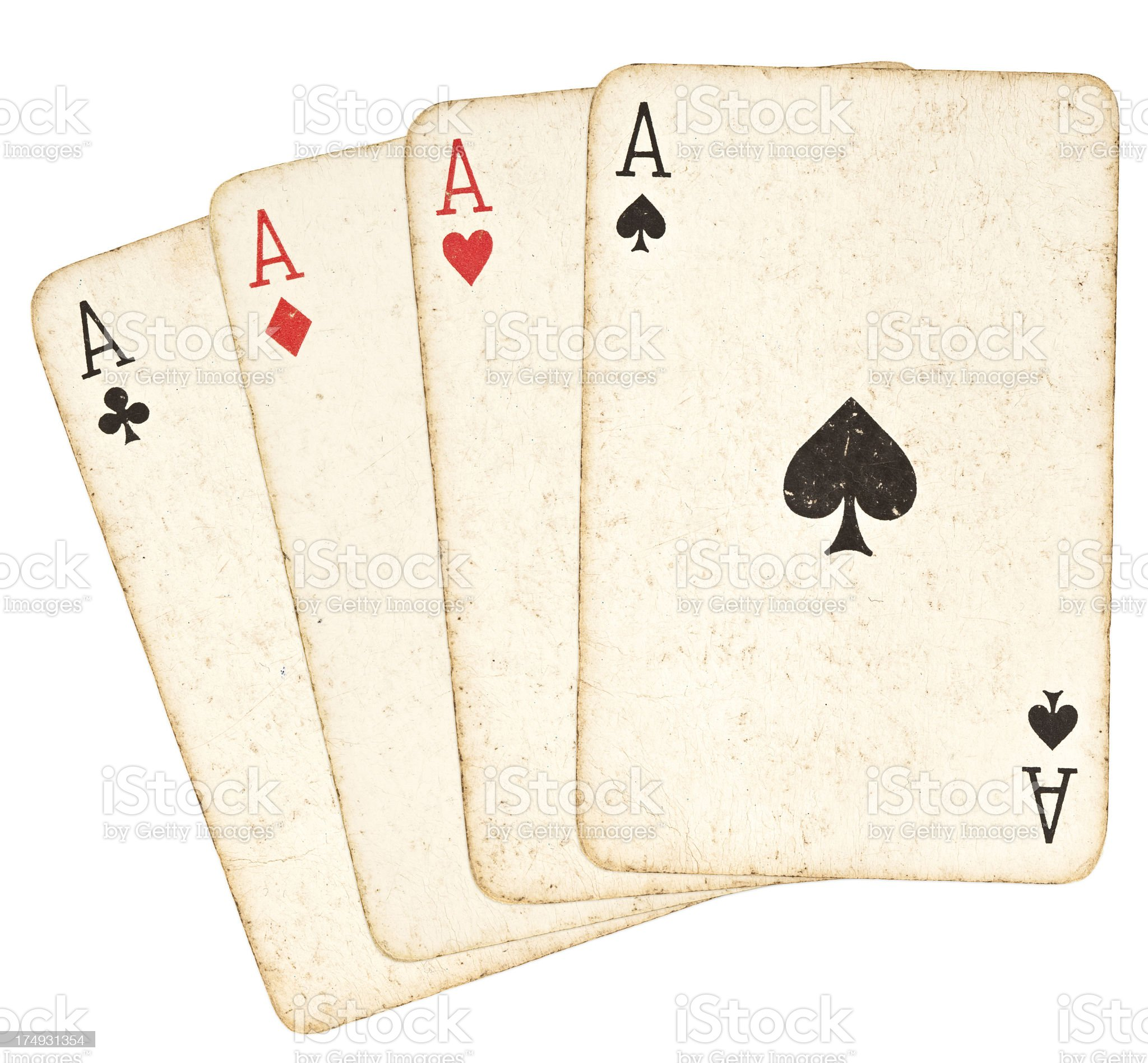 Old Playing Cards - Set of Aces royalty-free stock photo
