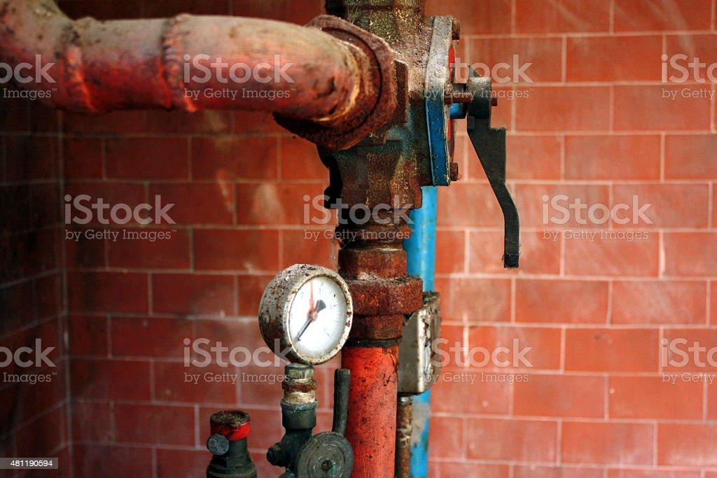 old plumbing fittings stock photo
