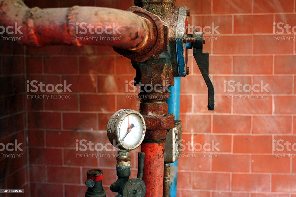 old plumbing fittings stock photo