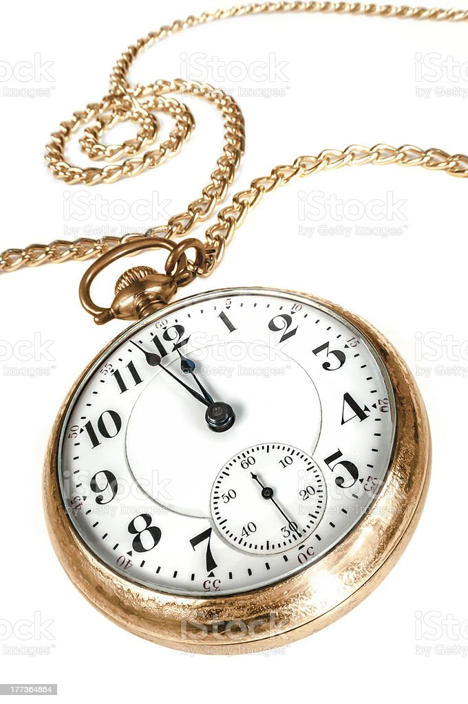 Old pocket watch isolated on white background stock photo