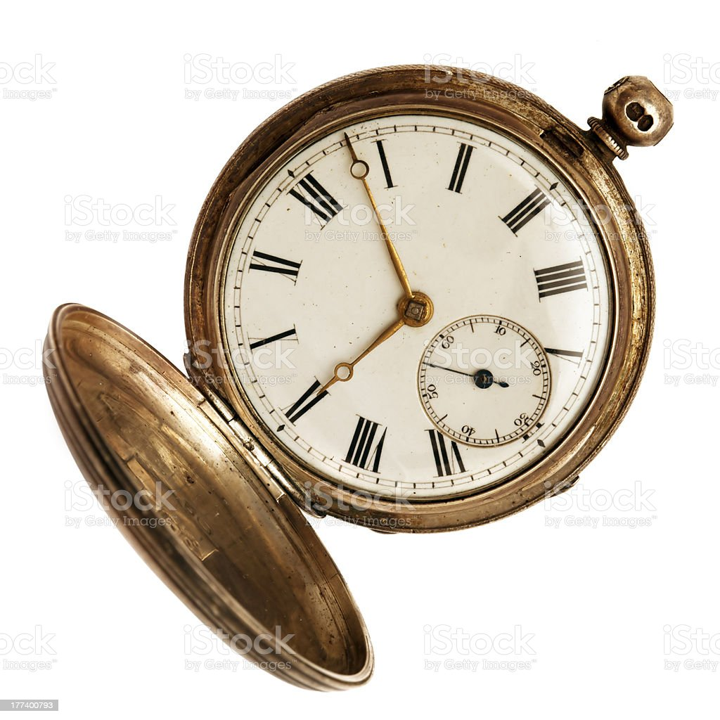 Old Pocket Watch Isolated on White stock photo
