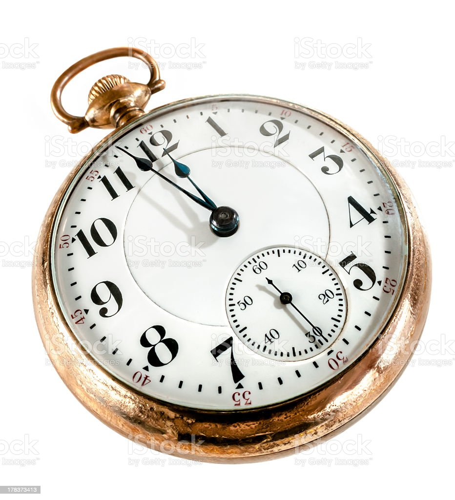 Old pocket watch missing its chain isolated on white stock photo