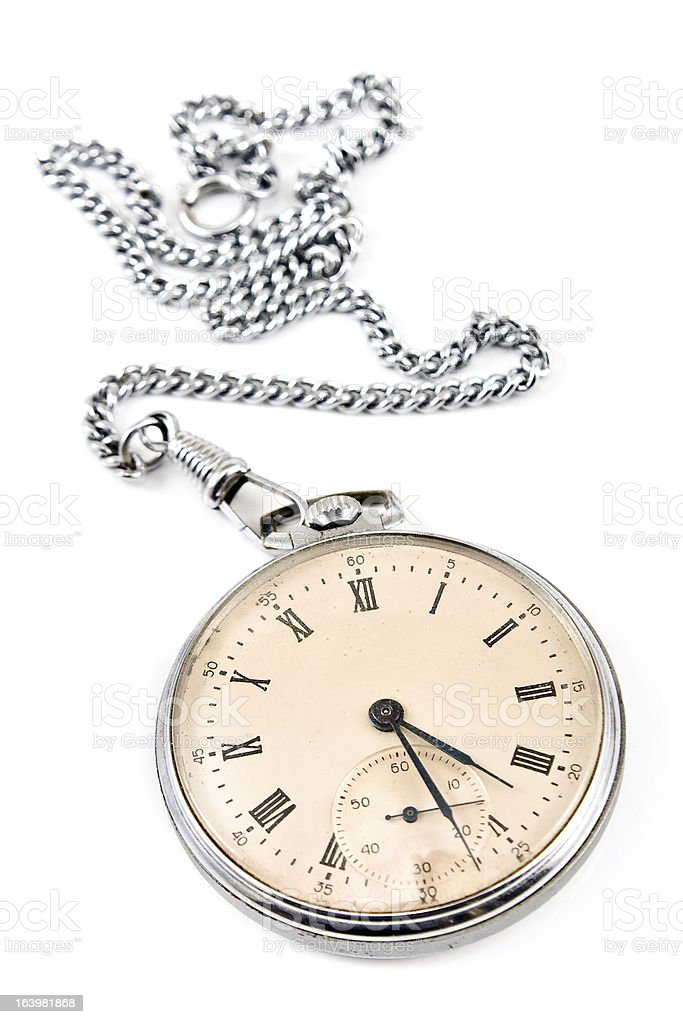 Old pocket watch with chain royalty-free stock photo
