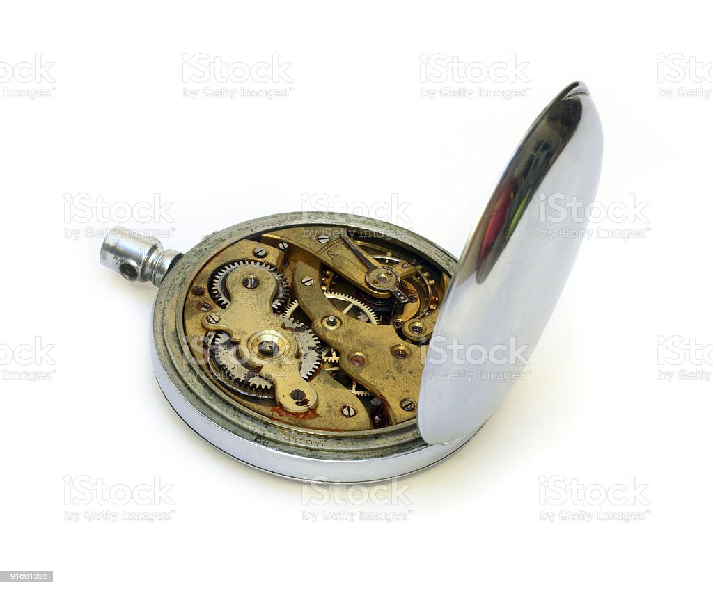 old pocket watch with open cover of gear royalty-free stock photo