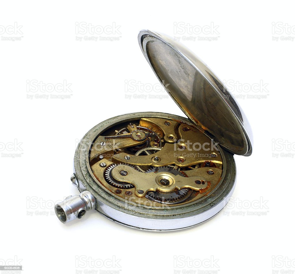 old pocket watch with open cover royalty-free stock photo