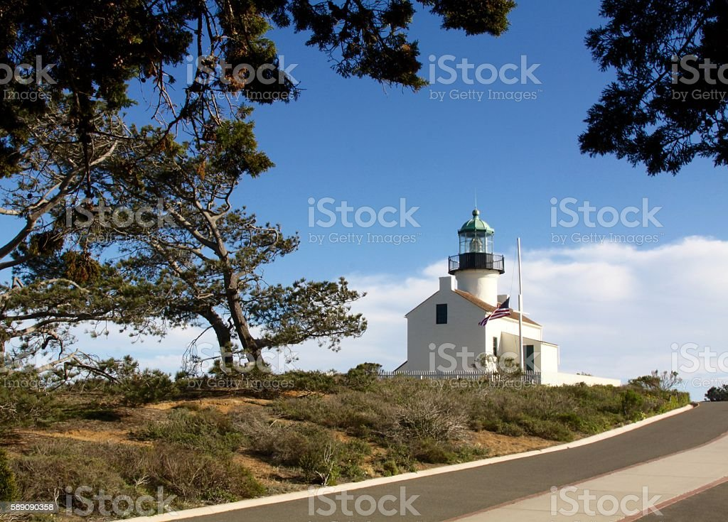 Old Point Loma Lighthouse Across From San Diego stock photo