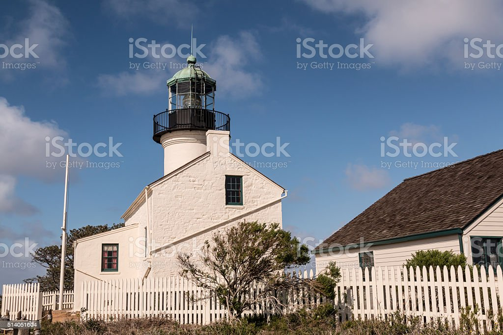 Old Point Loma Lighthouse and Outbuildings stock photo