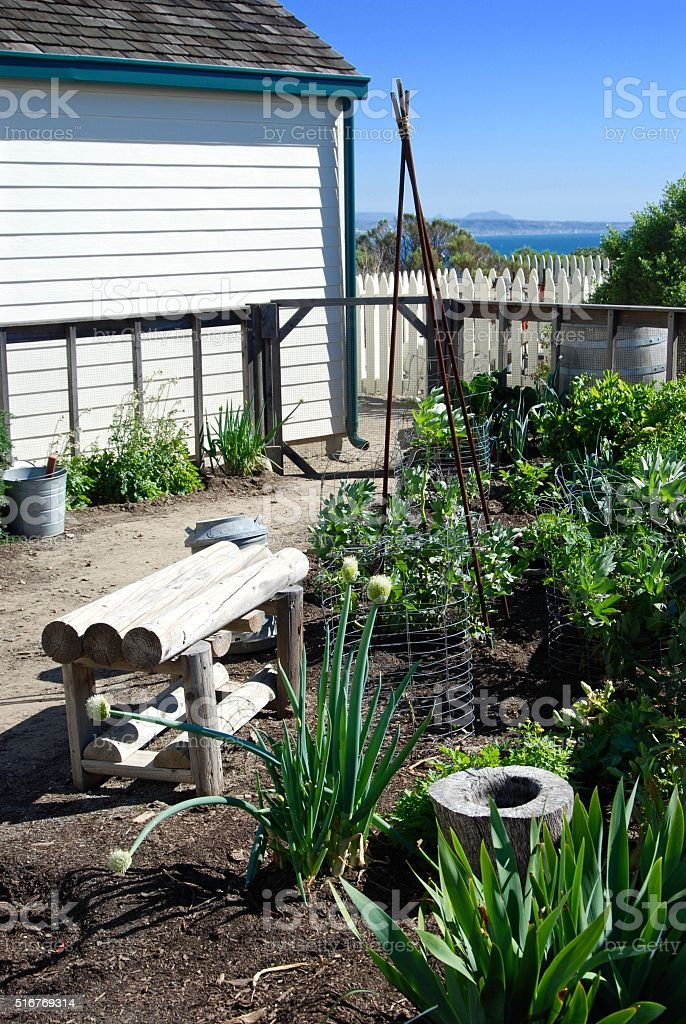 Old Point Loma Lighthouse Garden stock photo