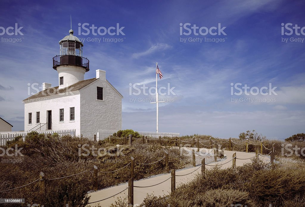 Old Point Loma Lighthouse in San Diego, CA stock photo