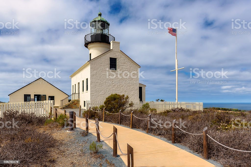 Old Point Loma Lighthouse in San Diego, California stock photo