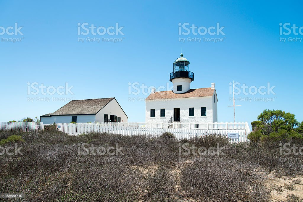 Old Point Loma Lighthouse stock photo