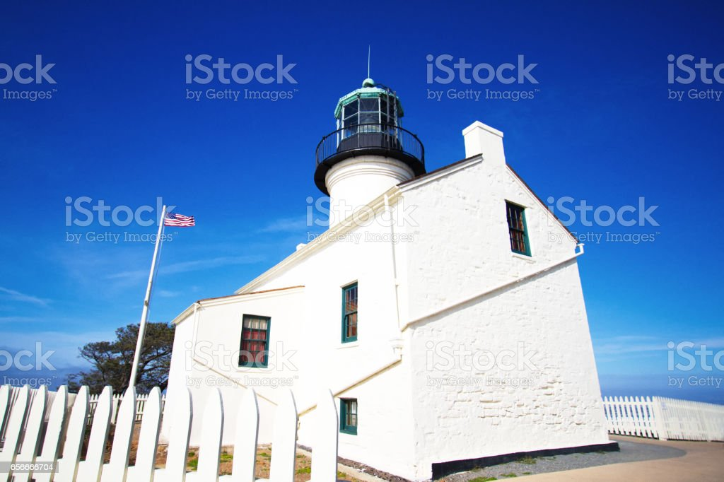 Old Point Loma Lighthouse, San Diego, CA (Close-Up) stock photo