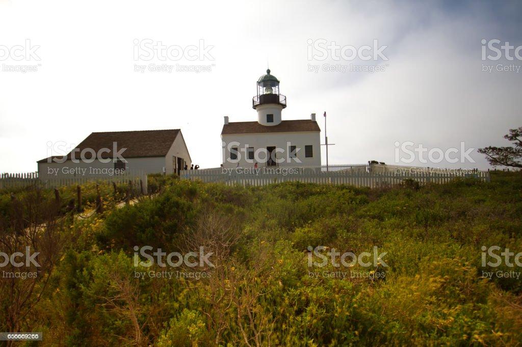 Old Point Loma Lighthouse, San Diego, CA stock photo