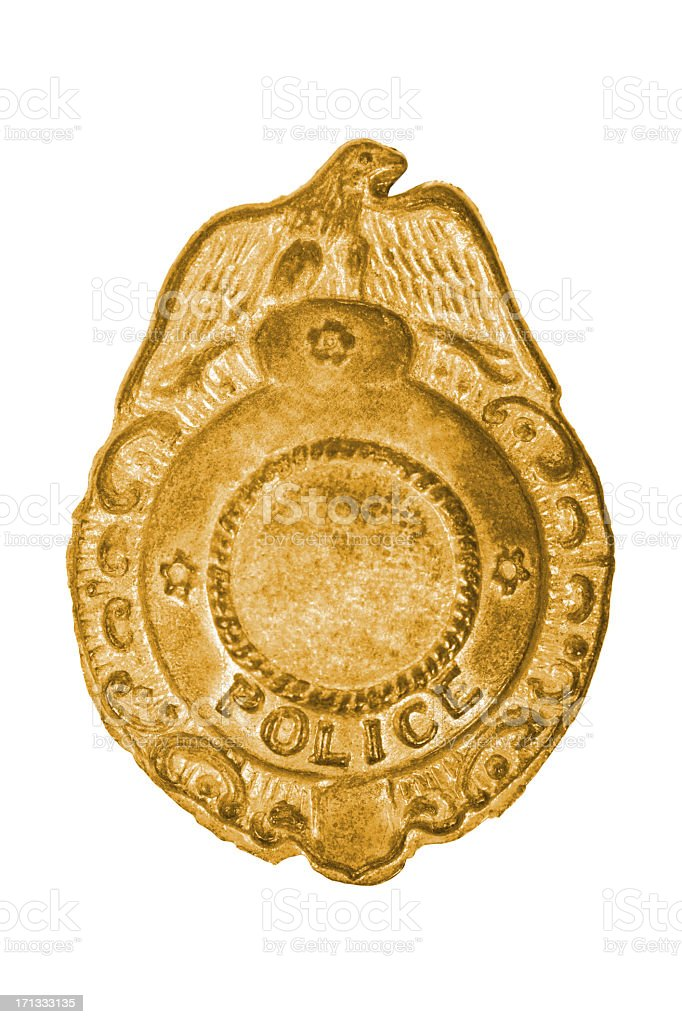 Old police badge stock photo