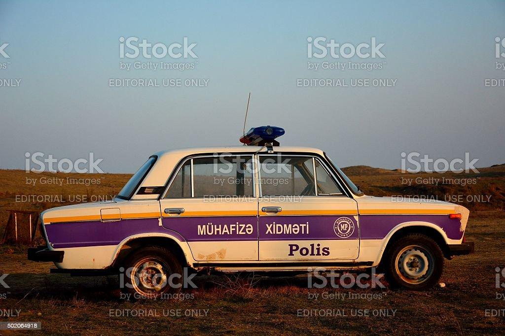 Old Police car at Yanar Dag, Azerbaijan stock photo