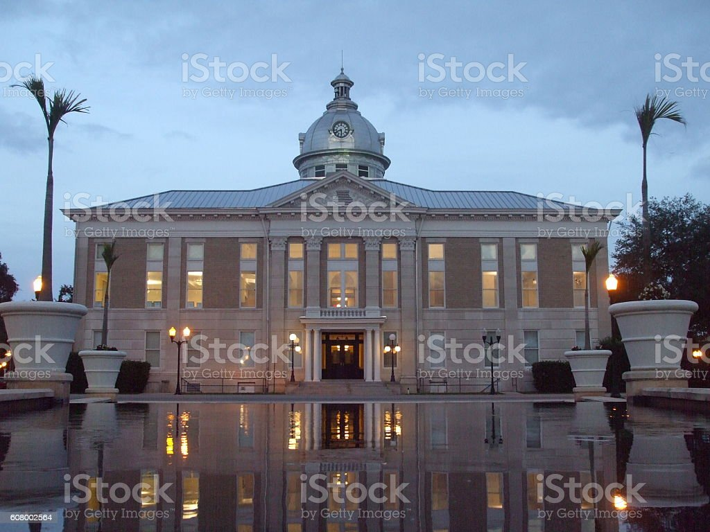 Old Polk County Courthouse Bartow Florida at dusk. stock photo