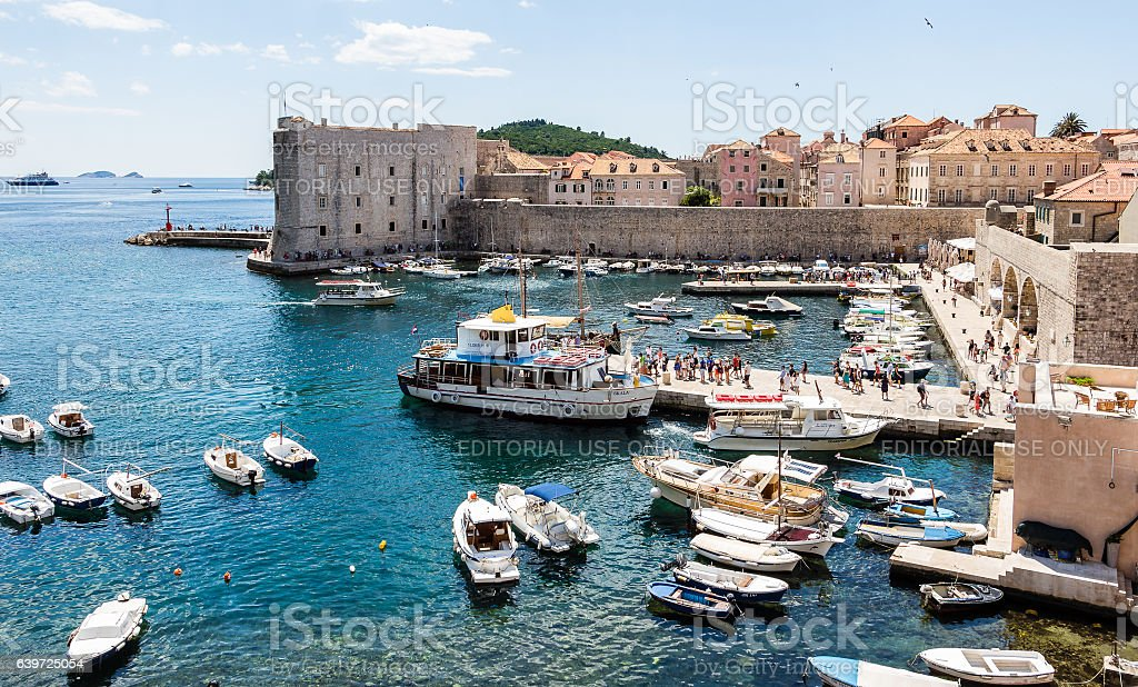 Old Port and fortress in Dubrovnik, Croatia stock photo