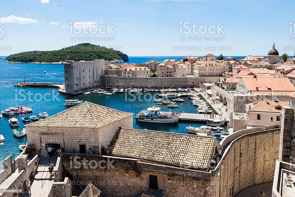 Old Port and Lokrum island in Dubrovnik, Croatia stock photo