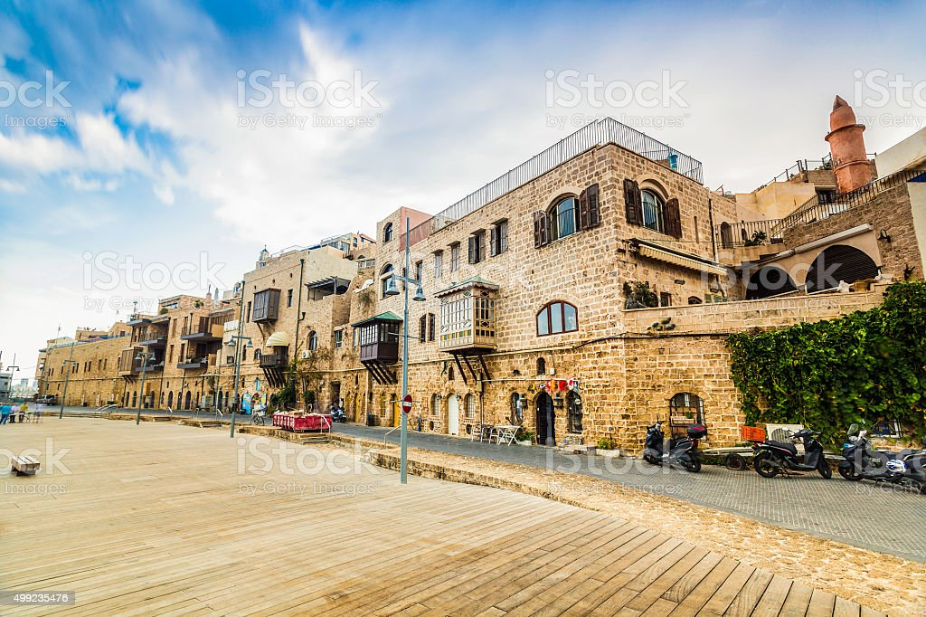 Old port buildings in Yafo, Israel stock photo