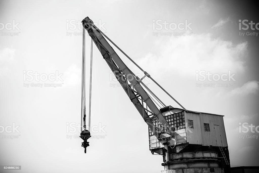 Old port crane in Santander stock photo