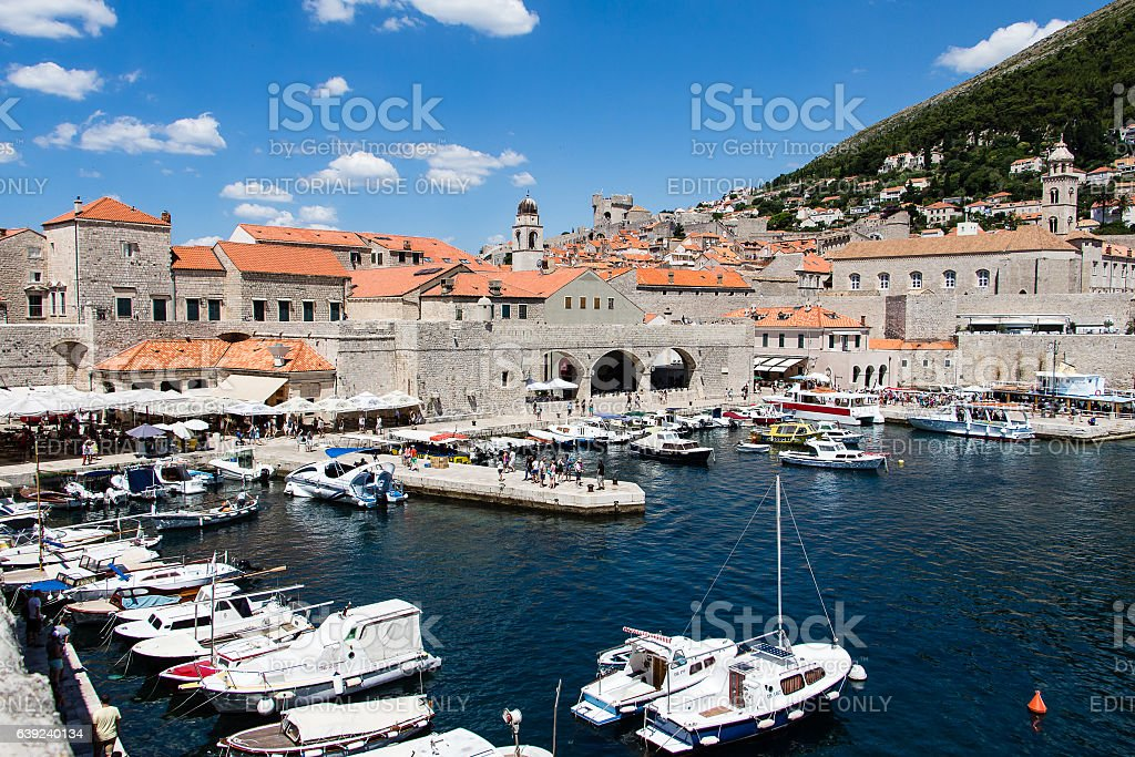 Old port in a sunny summer day in Dubrovnik, Croatia stock photo