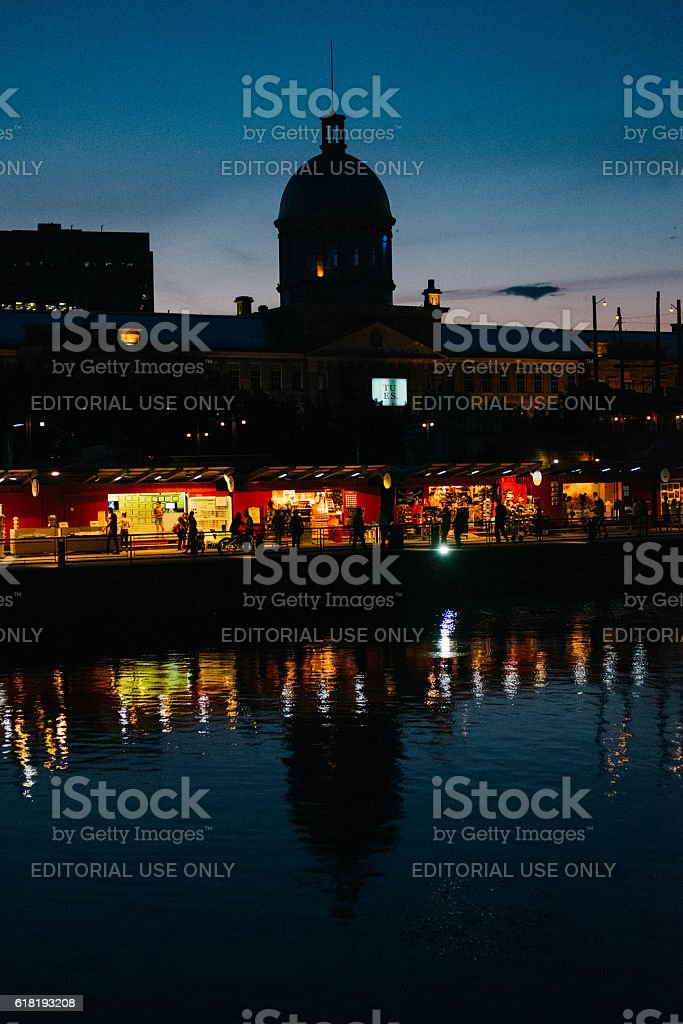 Old Port Montreal at summer night stock photo